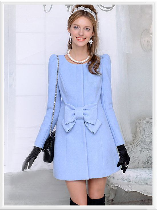 Morpheus Boutique  - Blue Ruffle Bow Wool Pleated Lady Long Sleeve Coat