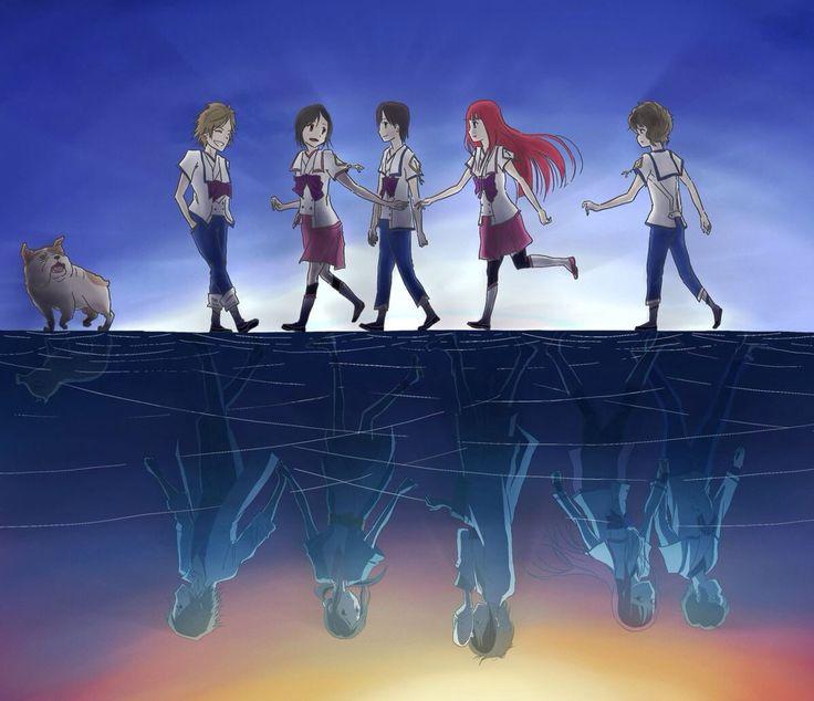 Shinsekai yori Satoru, saki, shun, maria, and mamoru