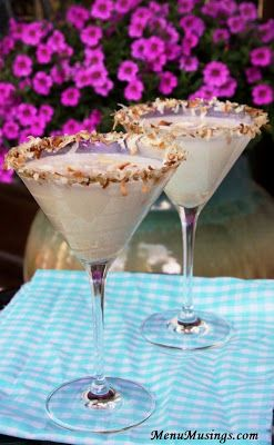 Toasted Coconut Martinis.  I have coconut vodka that reminds me of suntan lotion.....I think  using it for this will finish off the bottle quite nicely!!