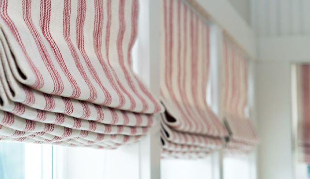 Red Ticking Roman Shades