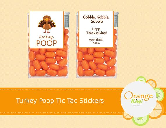 Turkey Poop Tic Tac Labels Thanksgiving Tic Tac Stickers