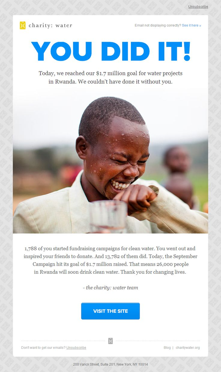 Charity: water - You did it! Great donor email communication. Use images to convey your message.