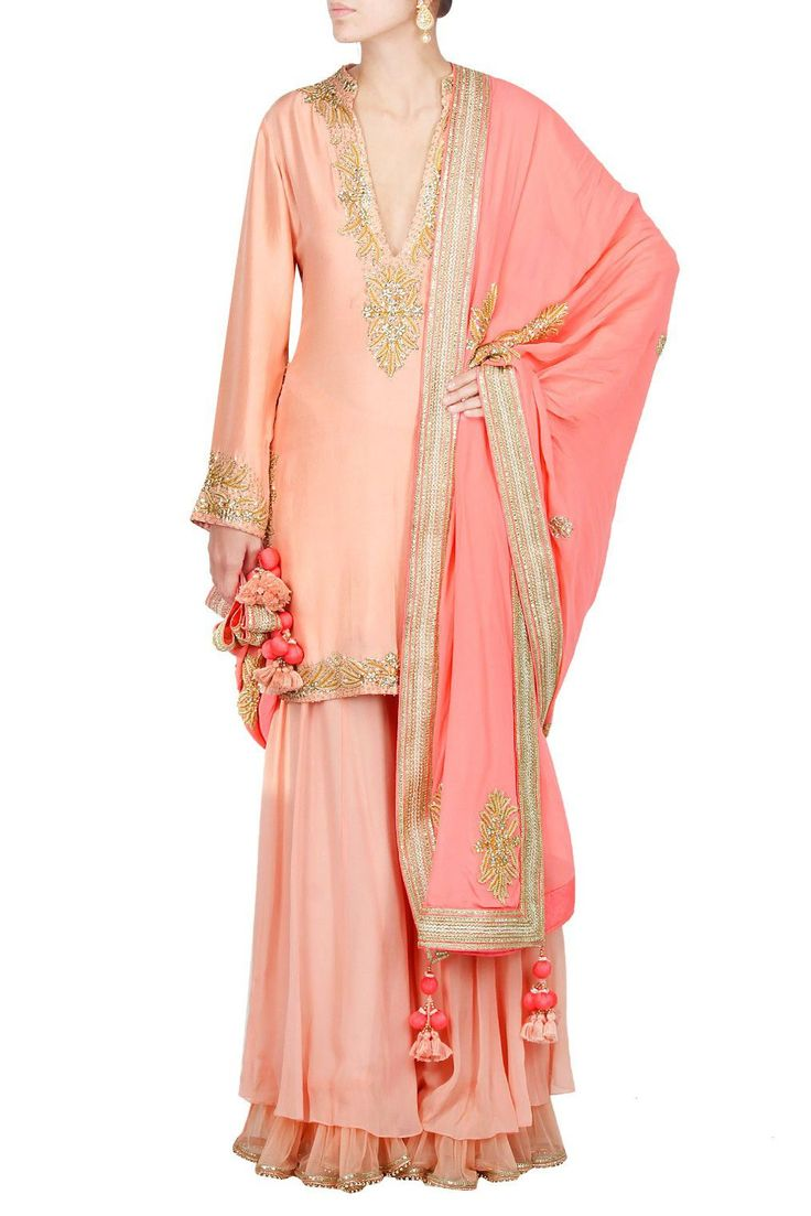 Pastel Peach Colour Silk Fabric Plus Size Party Wear Plazzo Pant Suit Comes with Matching Dupatta and bottom fabric This Plazzo Pant Suit Is crafted with Embroidery This Plazzo Pant Suit Comes As a st...