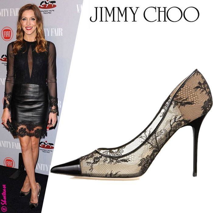 """For the love of lace & leather! Katie Cassidy in Jimmy Choo """"Amika"""" Pumps"""
