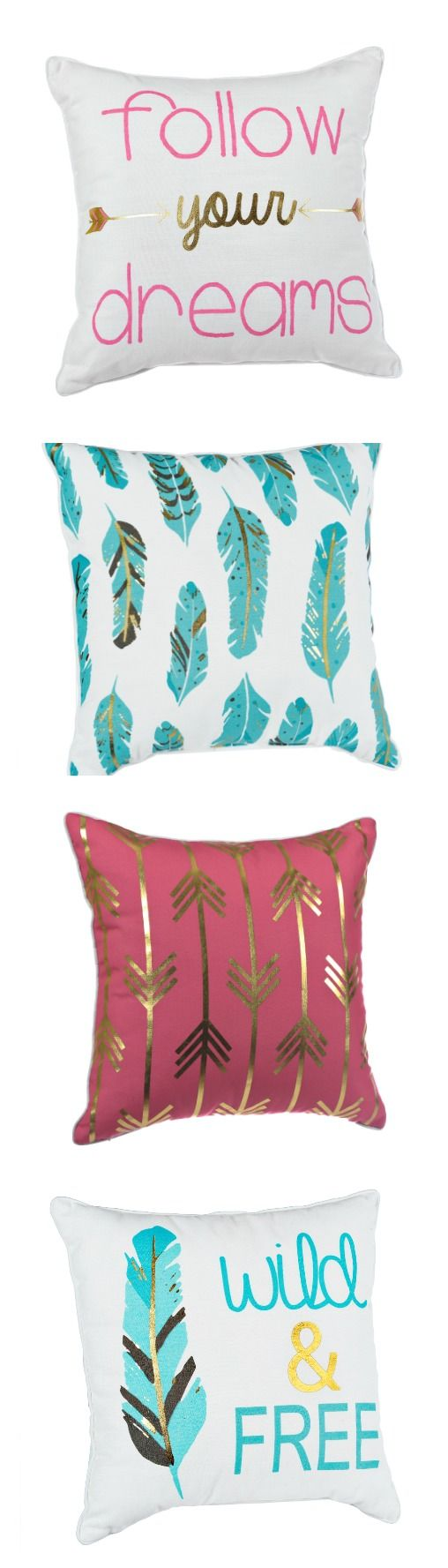 "Comfort is important. But why not have comfort AND style this back-to-school season? Browse our decorative throw pillows to find your perfect combo and add a touch of personality to your dorm room. Explore styles from turquoise feathers to gold arrows, from ""Follow Your Dreams"" to ""Wild & Free."""