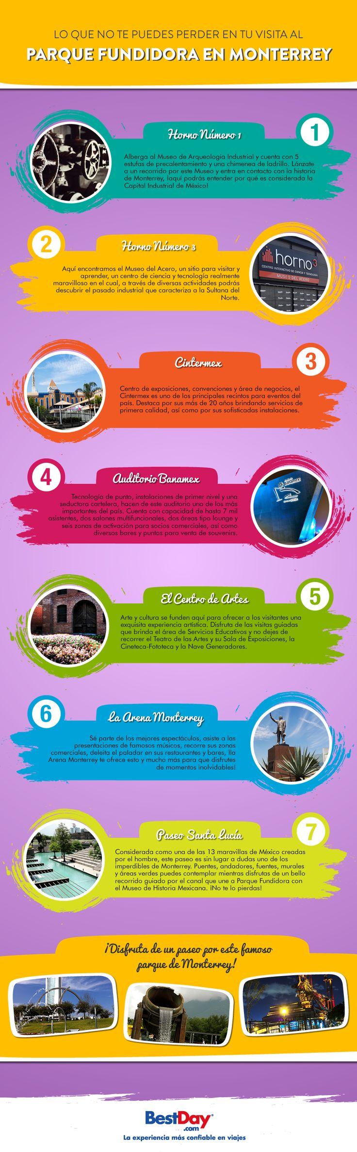 #Monterrey además de ser una de las ciudades top de la República, cuenta con atracciones únicas como el Parque Fundidora, localizado en la antigua colonia obrera al oriente de Monterrey. Conoce todo lo que no te puedes perder de este parque en esta infografía.