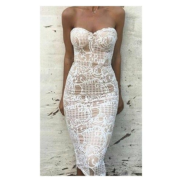 Good Girl White Lace Strapless Sweetheart Neck Bodycon Midi Dress ($98) ❤ liked on Polyvore featuring dresses, midi dress, white cocktail dresses, bodycon midi dress, strapless dresses and strapless midi dress