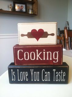 Distressed wood blocks cooking is love you can by AppleJackDesign