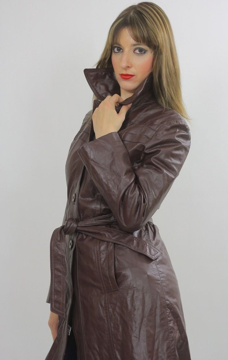 Vintage 70s leather trench coat on eBay