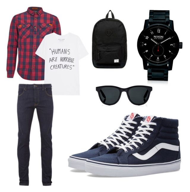 """""""Back to school outfit"""" by nicoleangulocareaga on Polyvore featuring Superdry, Religion Clothing, Vans, Nixon, Barton Perreira, Herschel Supply Co., men's fashion and menswear"""
