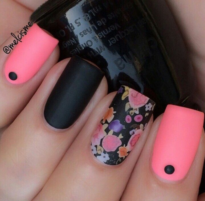 48 best uas images on pinterest nail designs coloring book and gorgeous black pink and flowery nail art prinsesfo Gallery