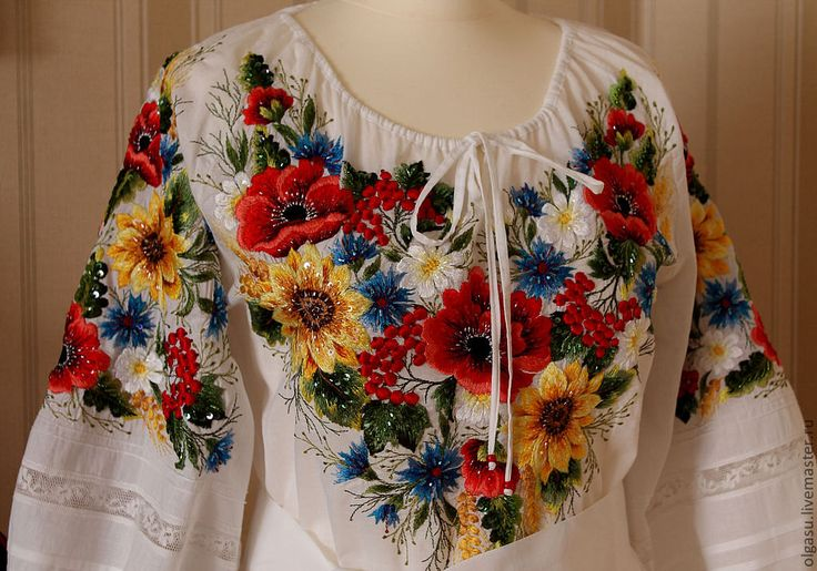 Embroidered white floral blouse - poppies & sunflowers! (off Etsy but sold out)