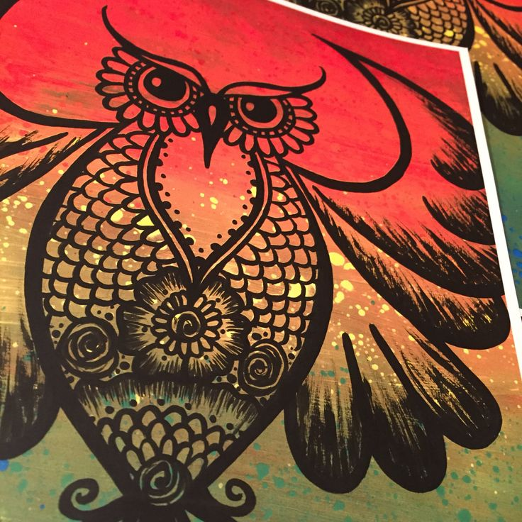 Equality Henna Owl prints/rainbow/multicolored/tribal/splatter/unity art by CLoTheArtist on Etsy