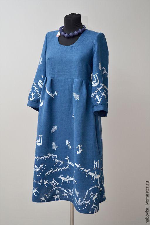 Купить Платье Онего - палтье, бохо, этно, набойка, кубовая набойка, синий, индиго, этностиль