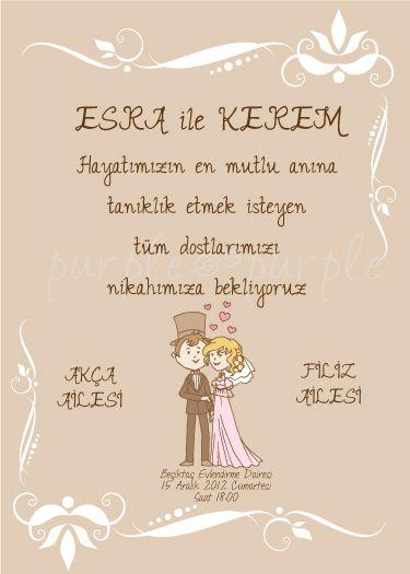 Pastel tonlarında şirin bir nikah davetiyesi