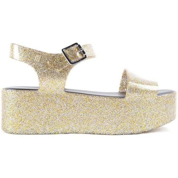 Mar Wedge Sandals ($67) ❤ liked on Polyvore featuring shoes, sandals, metallic, womenshoessandals, melissa sandals, wedge sandals, glitter wedge sandals, glitter sandals and mid heel wedge sandals