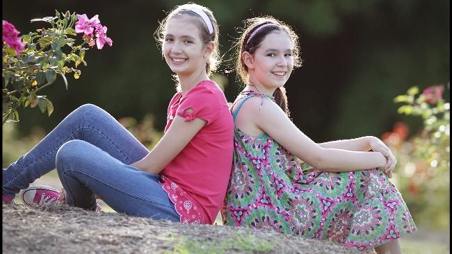 Junior MasterChef grand finalists Isabella and Sofia are tipped to scoop the honours on tomorrow night's show. Picture: Jamie Hanson Sunday Herald Sun