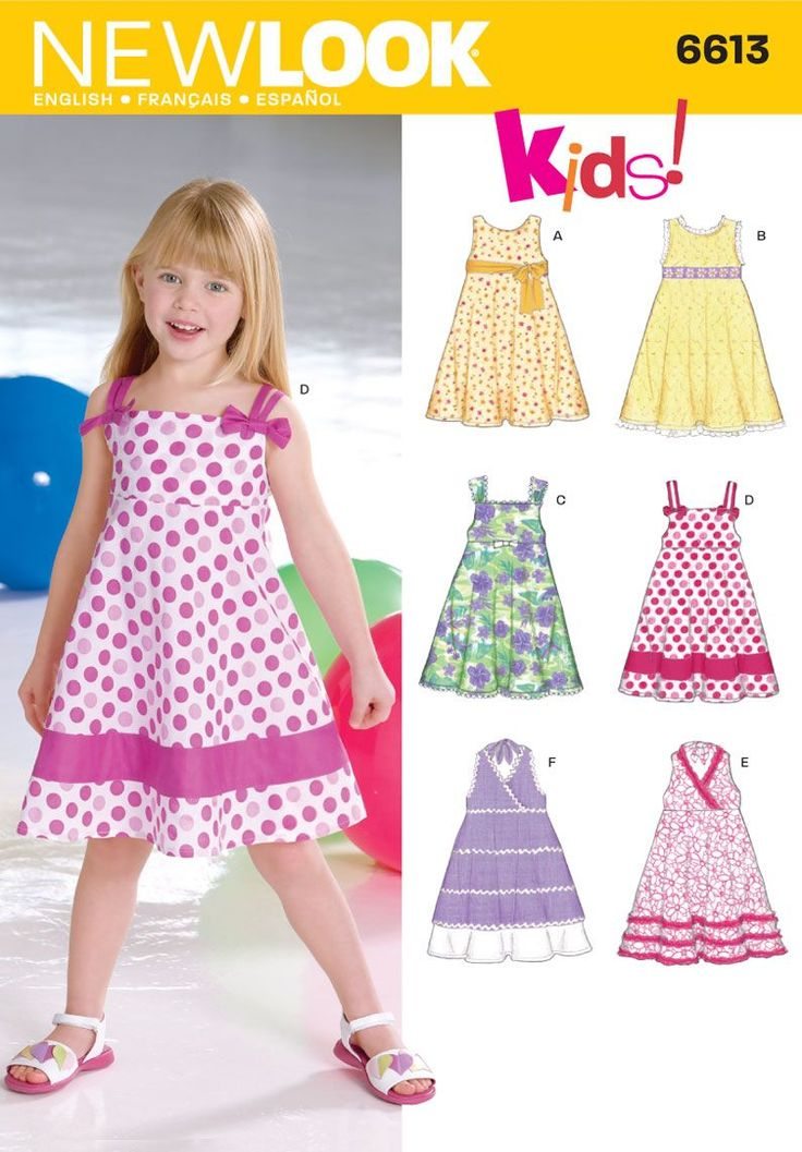 Simplicity : 6613 Spring 2013 Child dress size A (3,4,5,6,7,8) bodice 6 different looks