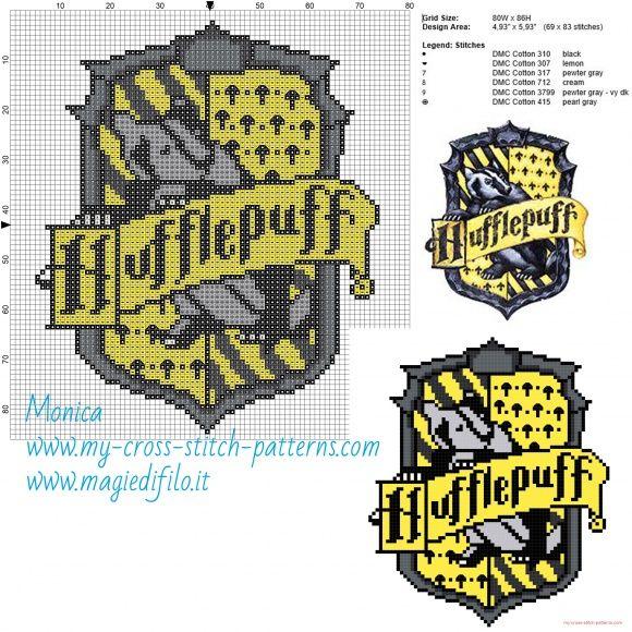 Hufflepuff cross stitch pattern