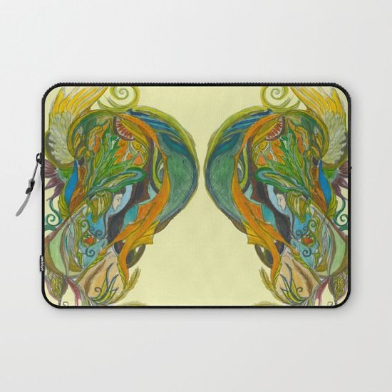 unique laptop sleeve with watercolor painting  whimsical fantasy
