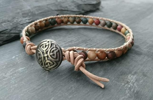 Jasper semi precious gemstone bead and leather bracelet with Celtic knot button £12.00