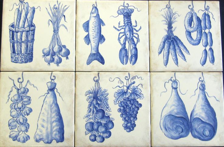"Angela's Azulejo Accent Tiles"" Accent tiles feature traditional Portuguese foods, seafood, vegetables and produce. Custom designed decorative kitchen backsplash tile mural accent tiles. Blue and white hand painted on 6 x 6 inch ceramic tiles."