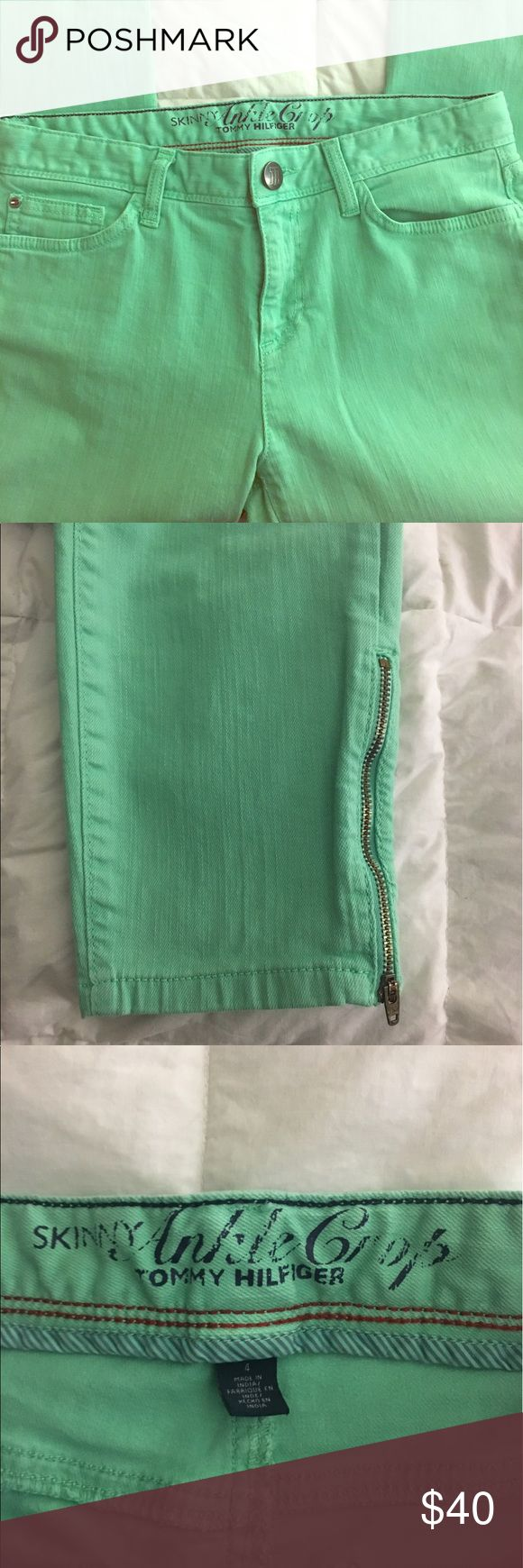 Tommy Hilfiger Mint Capris Brand new and never worn. Excellent condition. These are super cute capris and have zipper detailing at the bottom of the pant legs Tommy Hilfiger Pants Capris