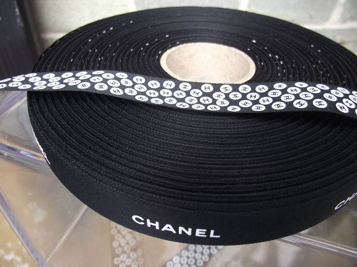 """Chanel ribbon 3/4"""" wide sold by the yard double sided logo authentic Chanel ribbon by the yard 36 inches"""