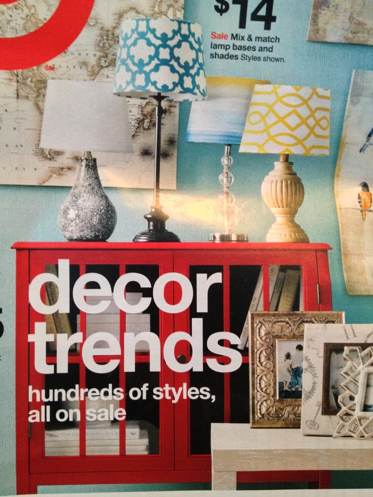 I'm in love with the red cabinet in this week's Target ad. Love the teal and yellow lamp shades too!