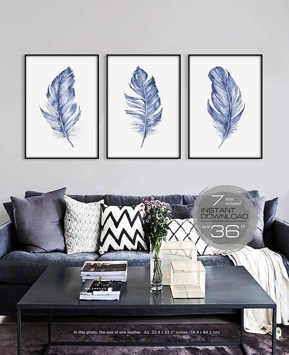 Printable Wall Art Set Blue Feather Print Able Prints Of 3 Large Ar