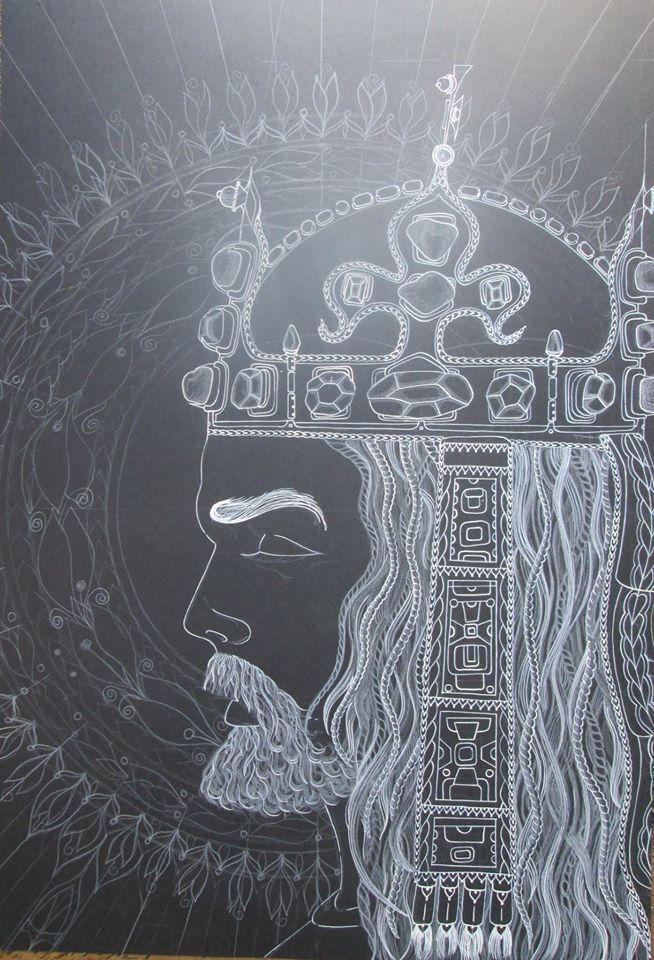 KAREL IV, Král Český Perokresba, formát A1, černý karton, bílá tuš KOH-I-NOOR, bílý pastel FABER-CASTELL, barva stříbrná+zlatá Autor: Johana Hájková 6/7/2016