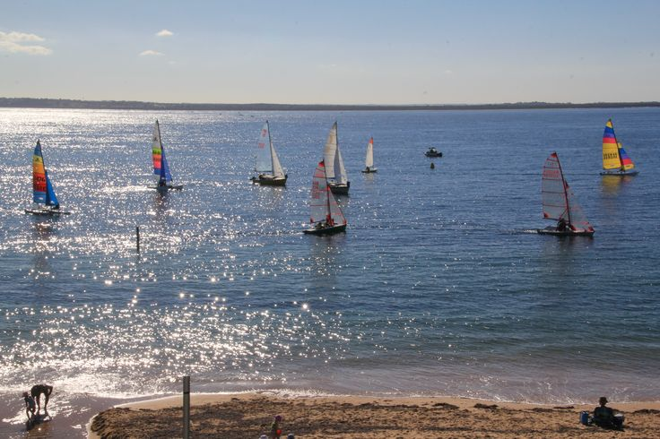 Racing in light autumn winds at Cowes Yacht Club, Phillip Island