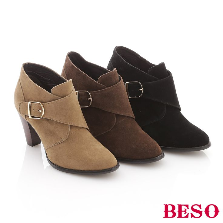 BESO 甜美都會 反絨面金屬魔鬼氈高跟短靴 黑   Yahoo奇摩購物中心 (With images)   Ankle boot, Boots, Ankle