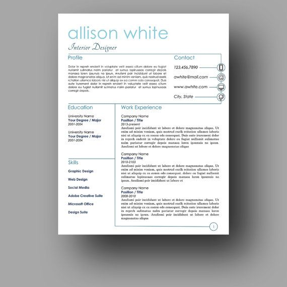 111 Best Resume Templates   Etsy Images On Pinterest
