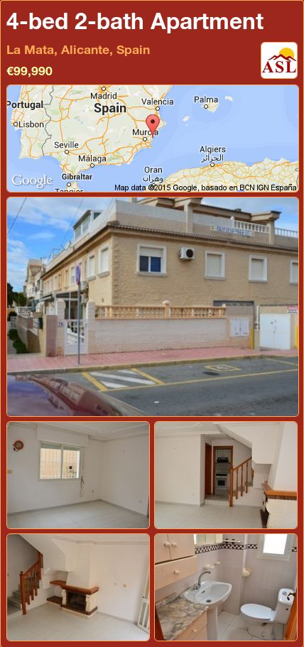 4-bed 2-bath Apartment in La Mata, Alicante, Spain ►€99,990 #PropertyForSaleInSpain