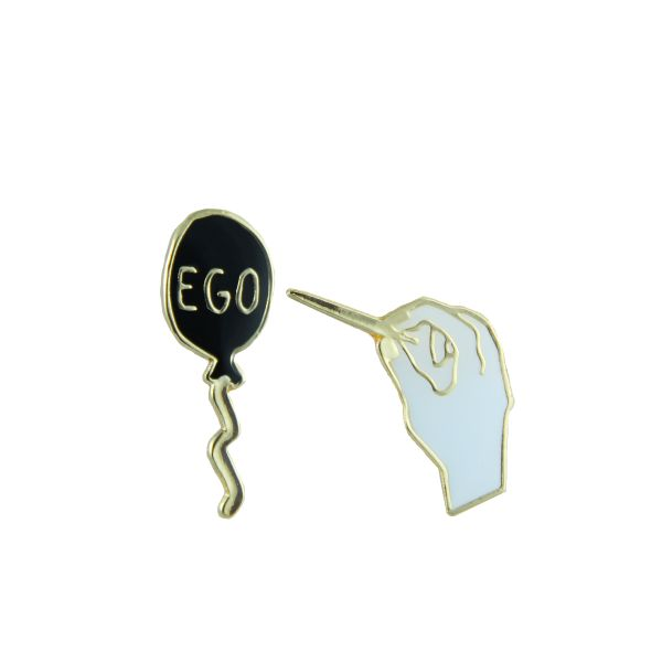 Free Radicals Ego Balloon Pin & Hand Holding Needle Pin - Pop Your Ego Pin Pack