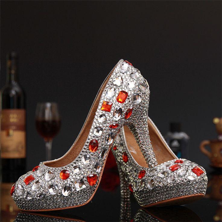 2015 nuevos hechos a mano rojo zapatos de boda rhinestone silver crystal Bridal vestidos de boda de punta redonda dama de honor Prom tacones altos