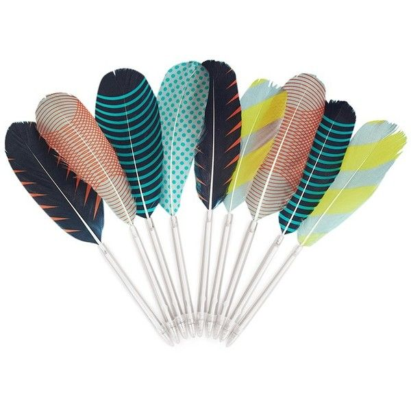 Hay Feather pen (39 ILS) ❤ liked on Polyvore featuring home, home decor, office accessories, fillers, decor, feather, & - fillers - misc., colorful pens, multi colored pens and multicolor pen