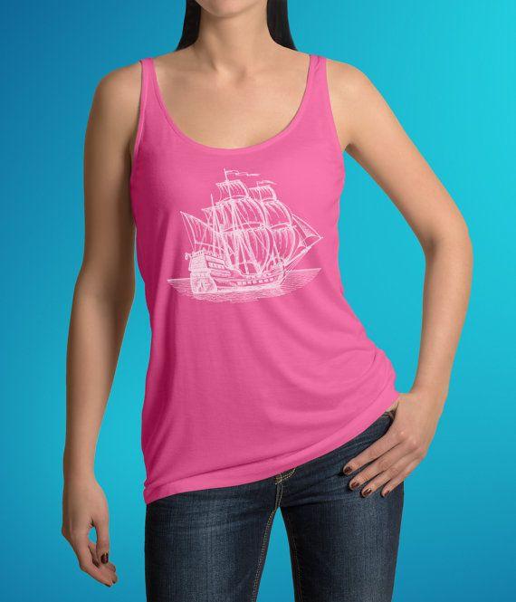 Pirate Ship Shirt - Sailing Boat Tank Top - Hipster Hand Drawn Old Ship Nautical Tee - Flowy Workout Activewear Yoga Layering Top