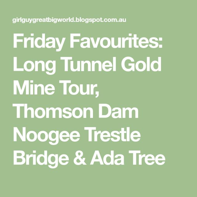 Friday Favourites: Long Tunnel Gold Mine Tour, Thomson Dam Noogee Trestle Bridge & Ada Tree