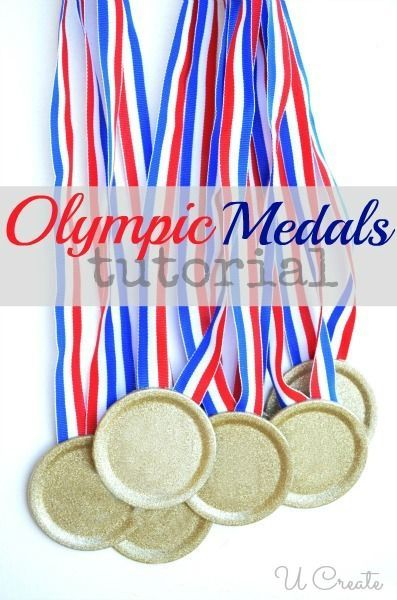 DIY Olympic Medals Supply List canning lids Krylon Glitter Blast Spray paint 6 yards of red, white, & blue ribbon Instructions Lay the duct tape sticky side up on a box and secure the lids to it. Make