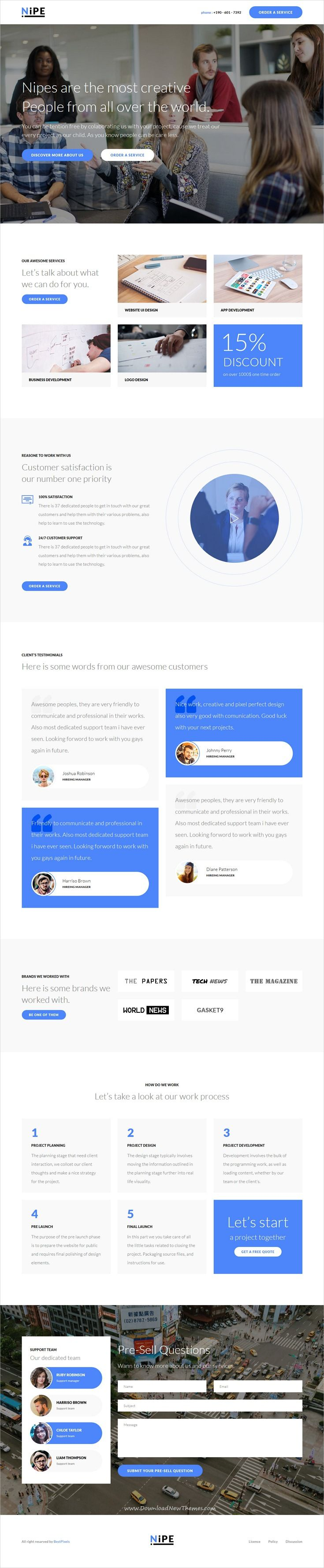 Nipe is clean and modern design responsive #HTML template for creative #service landing page website with 7 unique homepage layouts & 60+ design blocks download now..