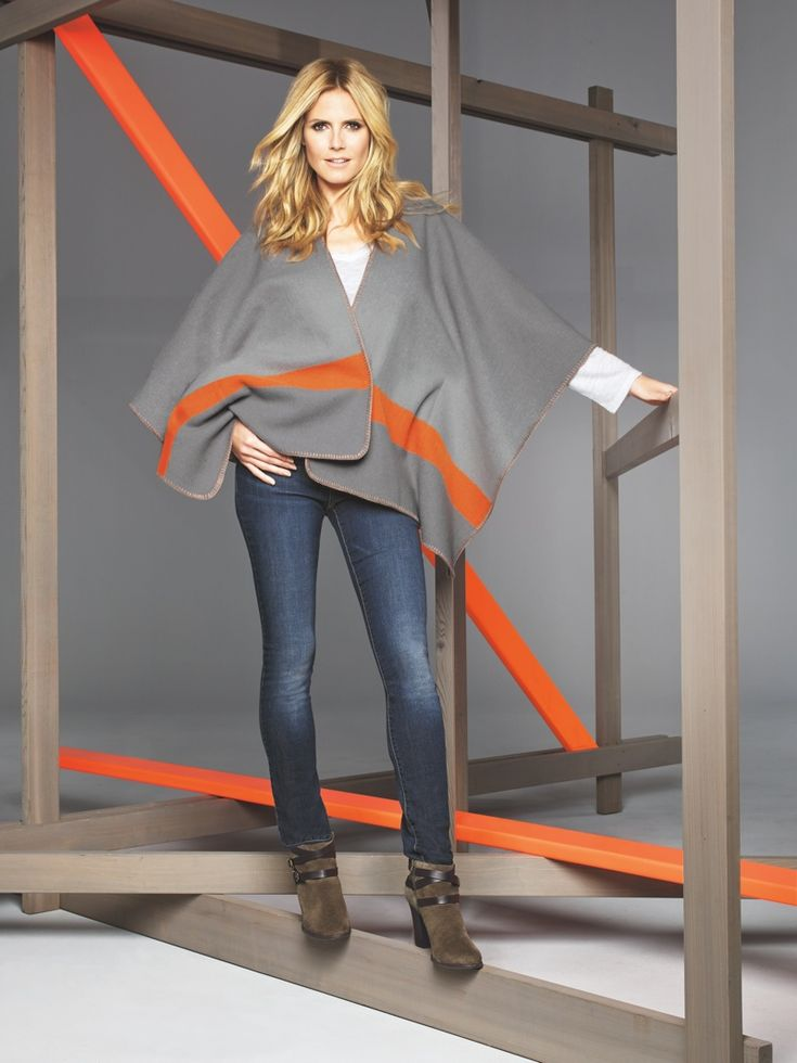 HEIDI KLUM SHOWS WHAT'S TRENDING IN MACY'S INC CAMPAIGN. Heidi wears a fleece poncho from Macy's INC.
