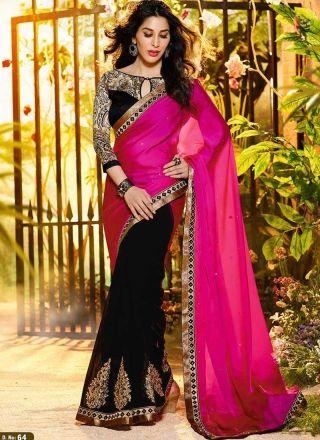 Sofia Hayat Black With Magenta Designer Bollywood Sareehttp://www.angelnx.com/Sarees/Bollywood-Sarees#/sort=p.sort_order/order=ASC/limit=32/page=4