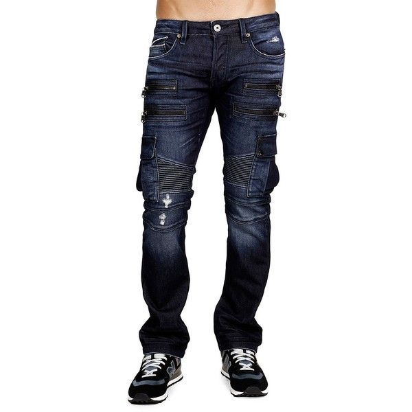 Cult Of Individuality Rebel Cargo-Stretch Jeans ($90) ❤ liked on Polyvore featuring men's fashion, men's clothing, men's jeans, mens jeans, mens stretchy jeans, mens cargo jeans, mens stretch jeans and mens flap pocket jeans