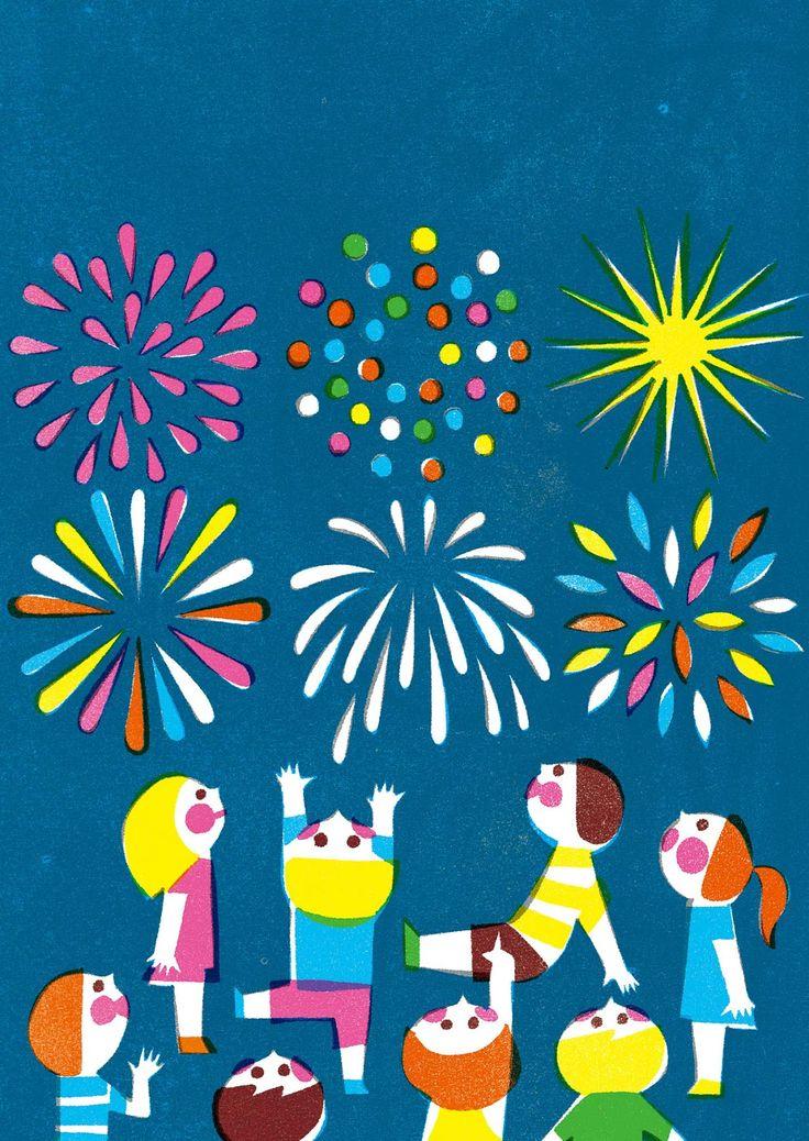 Kazuaki Yamauchi, fireworks and children illustration.