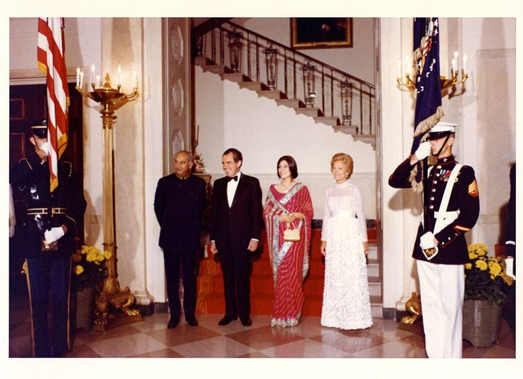 #OTD 9/18/1973 Pakistani Prime Minister Zulfikar Ali Bhutto, President Nixon, Mrs. Nusrat (Ispahani) Bhutto, and First Lady Pat Nixon prior to the State Dinner in honor of Prime Minister Bhutto. the two men first met 20 years earlier in 1953 at the residence of the American Ambassador to Pakistan.