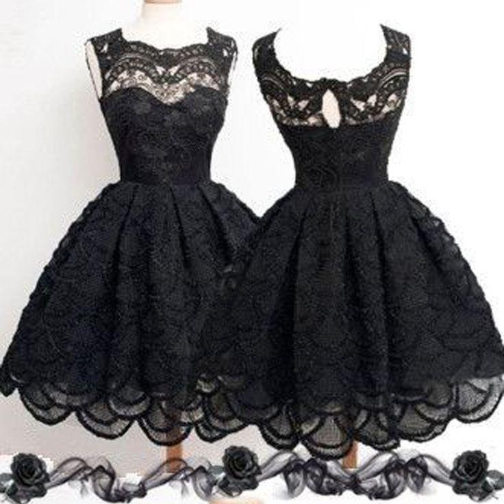 Black homecoming dress,homecoming dress with lace,simple homecoming dress,modest homecoming dress,vintage homecoming dress,casual homecoming dress. The black lace simple homecoming dresses are fully l