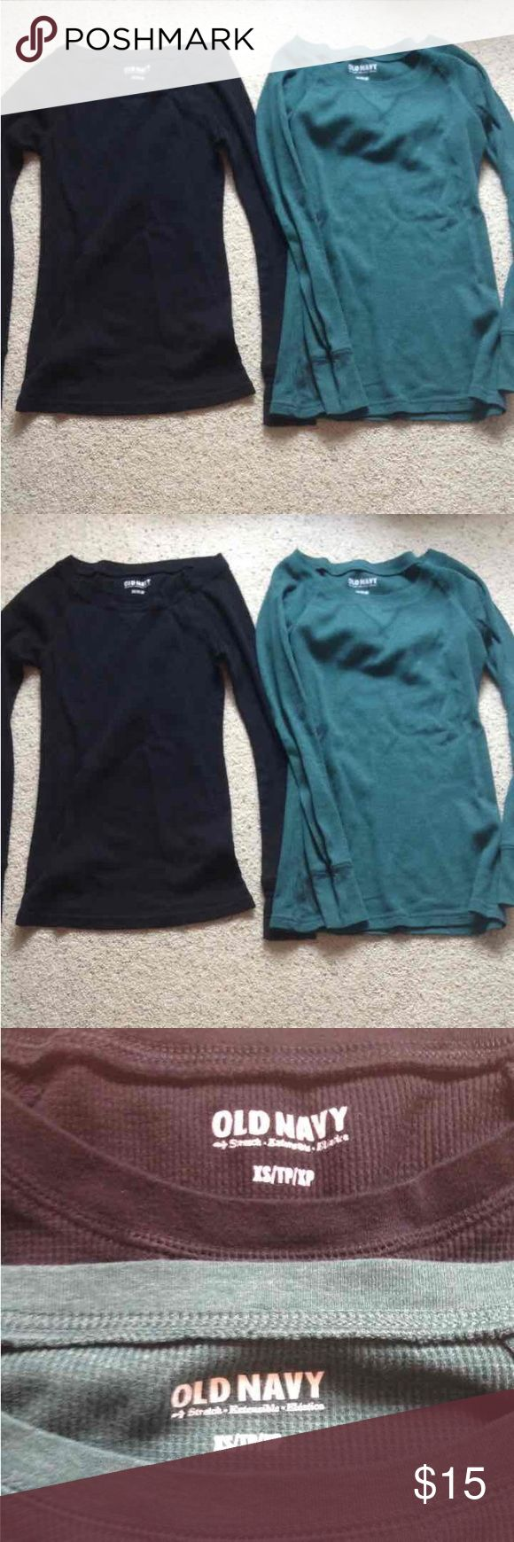Old Navy Thermal Long Sleeves Bundle Great condition! Two thermal long sleeve tops both xs. Black and dark green. These shirts are so comfy and make your ta tas look sooo good! Seriously though! Open to offers:) Tops Tees - Long Sleeve