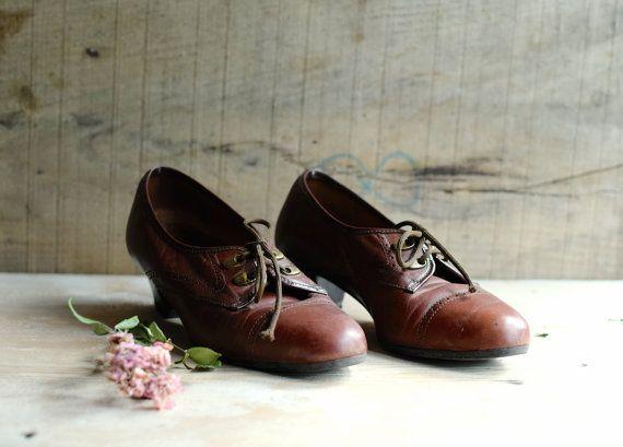 Vintage schoenen schoenen met lederen schoenen schoenen door Tataan